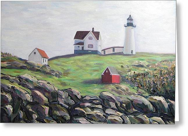 Nubble Lighthouse Paintings Greeting Cards - Nubble Light House Greeting Card by Richard Nowak