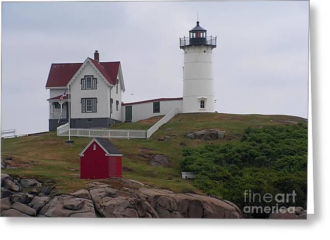 Cape Neddick Greeting Cards - Nubble Light House York Maine Greeting Card by Joy Bradley
