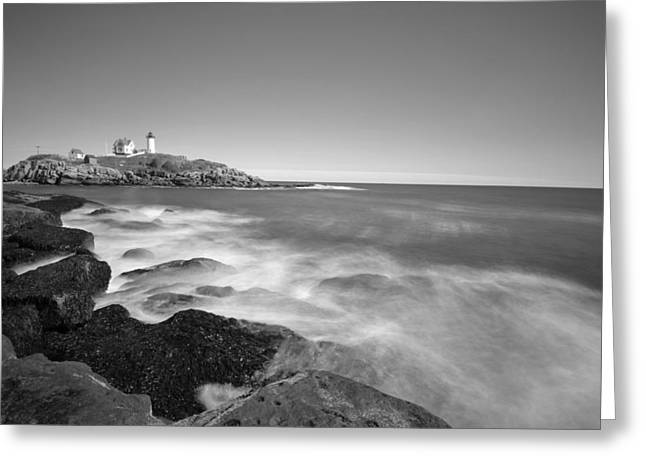 Nubble Light In York Me Cape Neddick Black And White Greeting Card by Toby McGuire