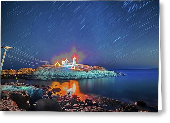 Nubble Light In York Me Hurtling Through Space Cape Neddick Greeting Card