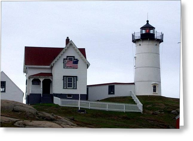 Nubble Light Greeting Card by Kevin Fortier