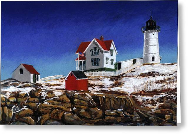 Nubble Lighthouse Paintings Greeting Cards - Nubble Light Greeting Card by Paul Gardner