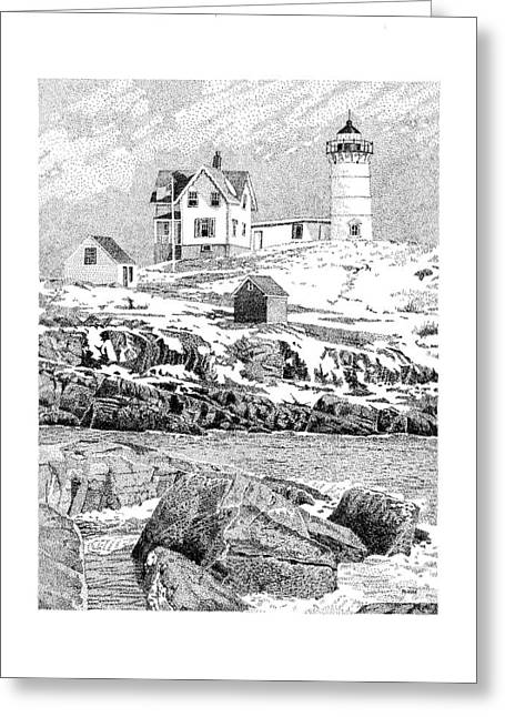 Nubble Light Greeting Card by Philip LeVee