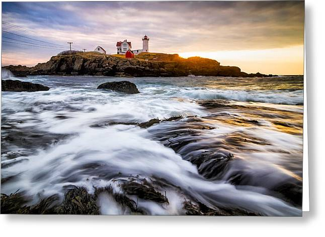 Nubble Light Greeting Card by Robert Clifford
