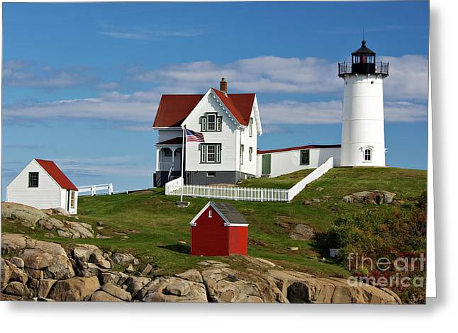 Out-building Greeting Cards - Nubble Lighthouse - D002365 Greeting Card by Daniel Dempster