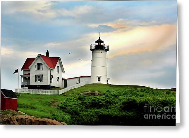 Nubble Lighthouse Greeting Card by Adrian LaRoque