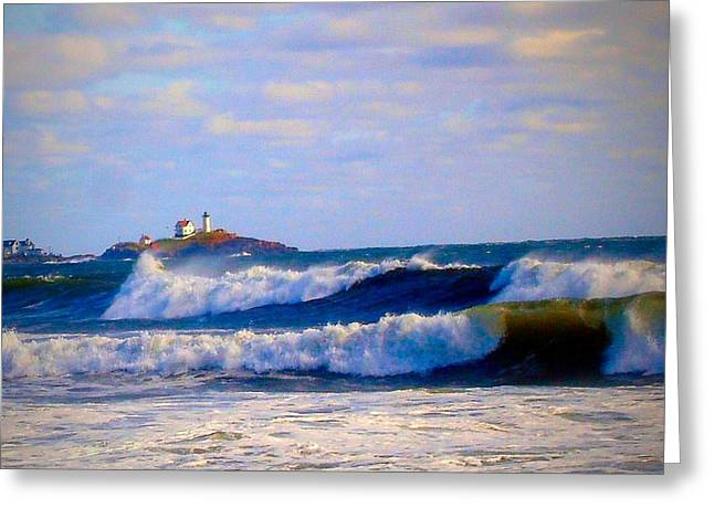 Nubble Lighthouse Greeting Card by Anne Sands