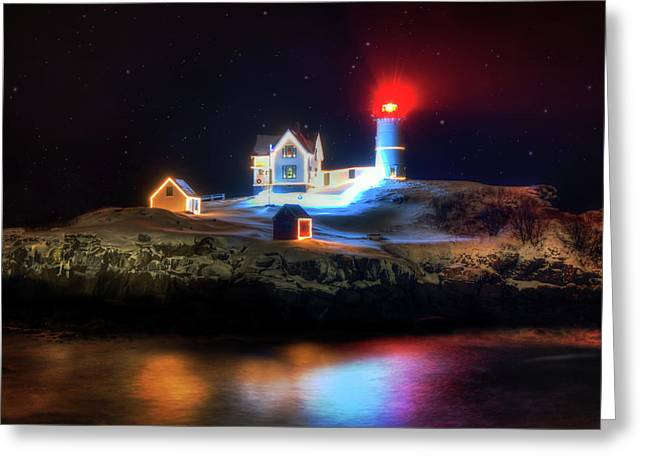 Nubble Lighthouse At Night - Cape Neddick Maine Greeting Card by Joann Vitali