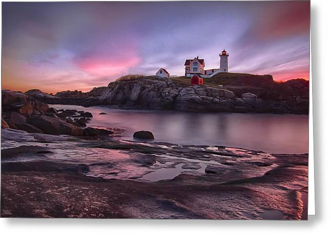 Nubble Lighthouse At Sunrise York Me Greeting Card