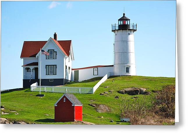Nubble Lighthouse Greeting Card by Eric Tressler