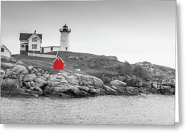 Nubble Lighthouse In Color And Black And White Greeting Card