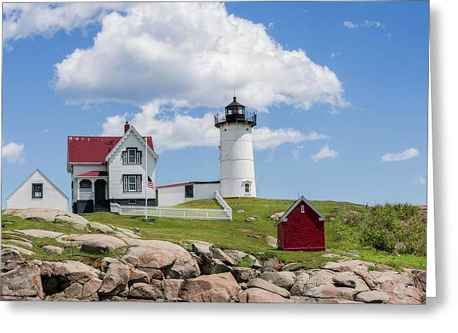 Nubble Lighthouse Greeting Card by Laura Bode