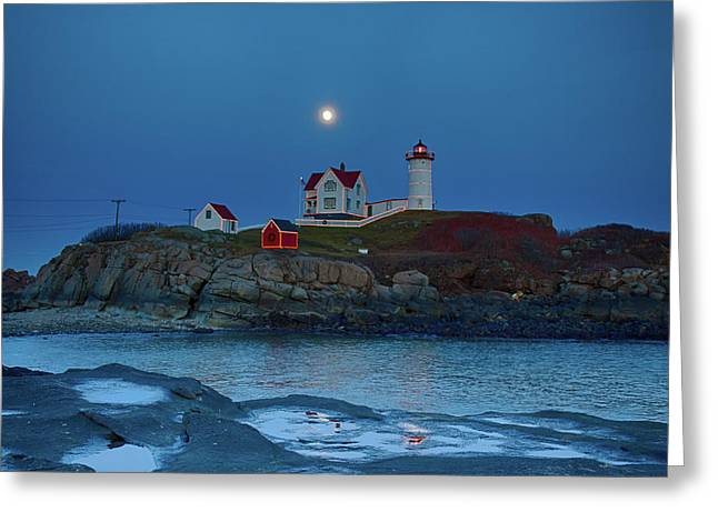 Greeting Card featuring the photograph Nubble Lighthouse Lit For Christmas by Jeff Folger