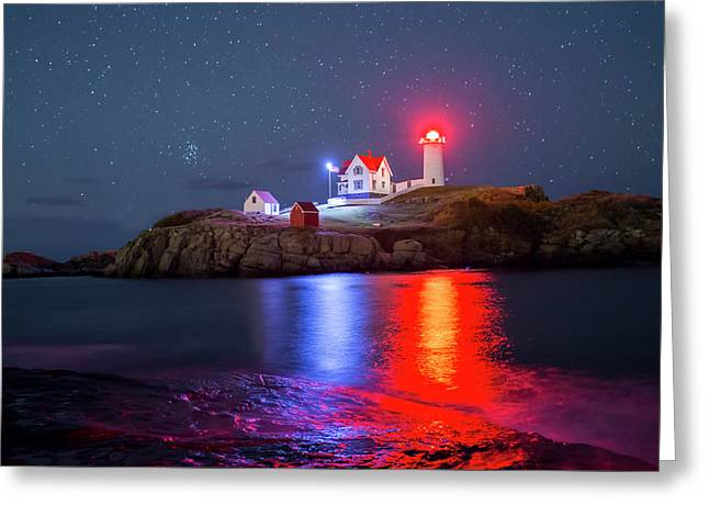 Nubble Lighthouse Reflection Greeting Card