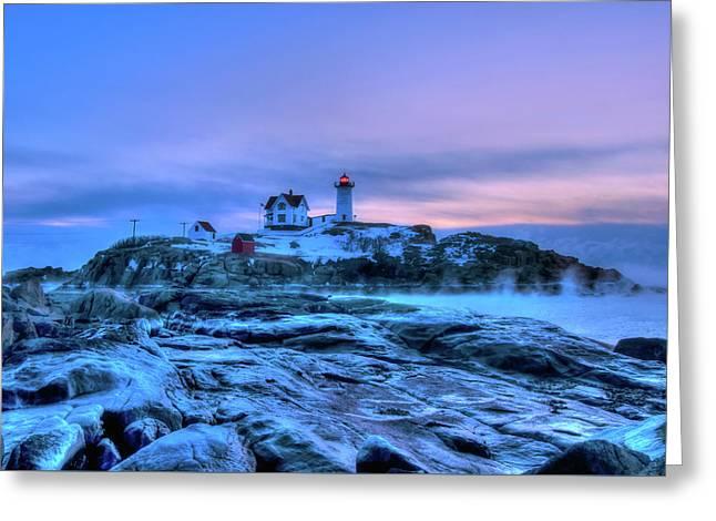 Nubble Lighthouse Sunrise - York, Maine Greeting Card by Joann Vitali