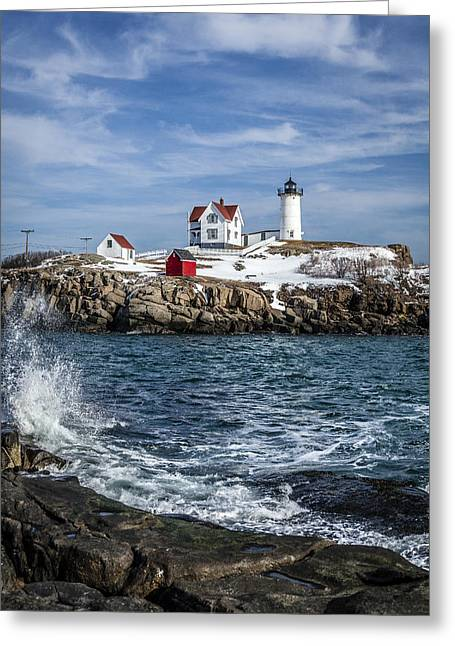 Nubble Lighthouse Winter Greeting Card