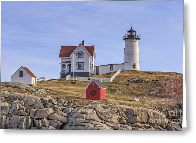 Nubble Lighthouse York Maine Greeting Card by Edward Fielding