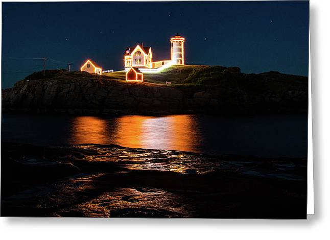Greeting Card featuring the photograph nubble Lighthouse, York Maine by Jeff Folger