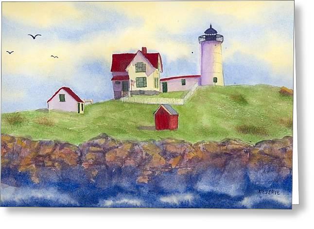 Nubble Lighthouse York Maine  Greeting Card by Roseann Meserve