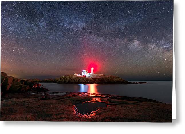 Nubble Night Greeting Card by Michael Blanchette