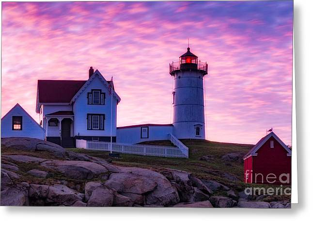 Nubble Sunrise Greeting Card by Jerry Fornarotto