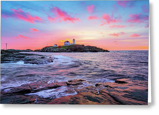 Nubble Sunrise Surprise Greeting Card by Robert Clifford