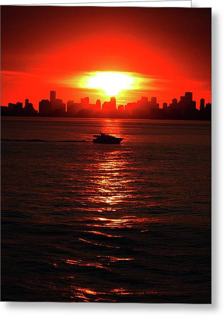 Nuclear Miami Sunset Greeting Card