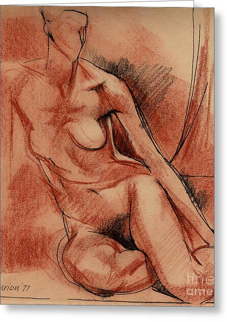 Nudes Drawings Greeting Cards - Nude 007 Greeting Card by Edward Henrion