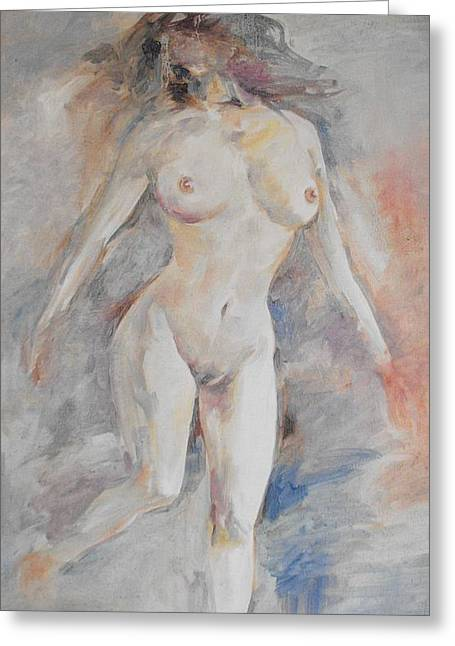 Nude 1 Greeting Card by Min Wang