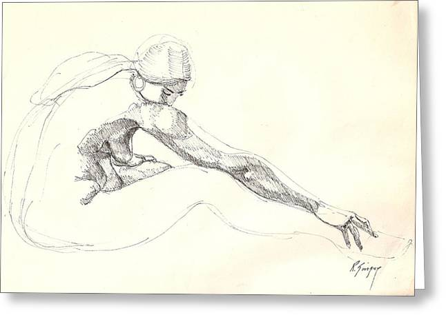 Greeting Card featuring the drawing Nude 10 by R  Allen Swezey