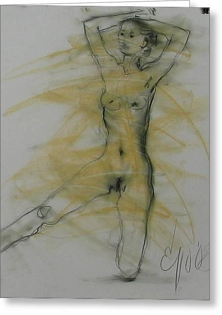 Nude 3 Greeting Card by Elizabeth Parashis