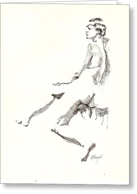 Greeting Card featuring the drawing Nude 7 by R  Allen Swezey