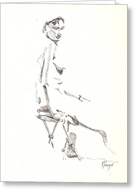Greeting Card featuring the drawing Nude 8 by R  Allen Swezey
