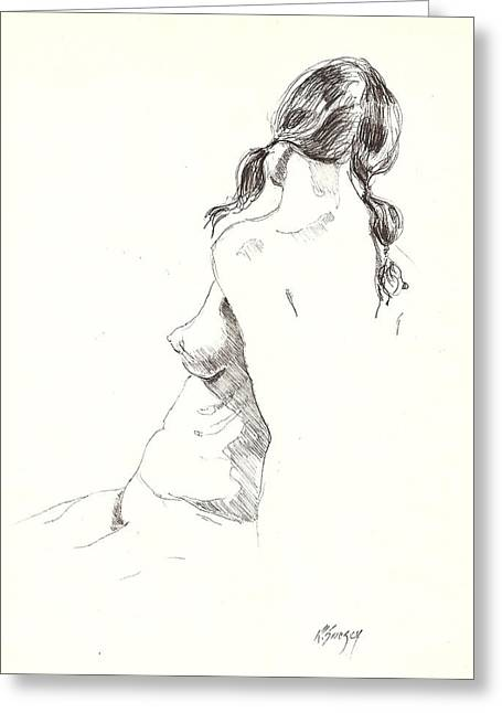 Greeting Card featuring the drawing Nude 9 by R  Allen Swezey