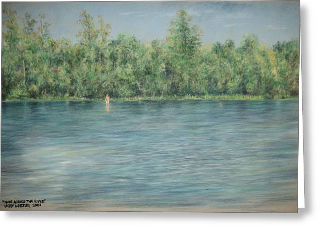 Nude Across The River Greeting Card by Larry Whitler