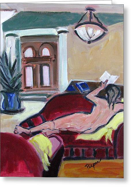 Greeting Card featuring the painting Nude And Foyer by Betty Pieper