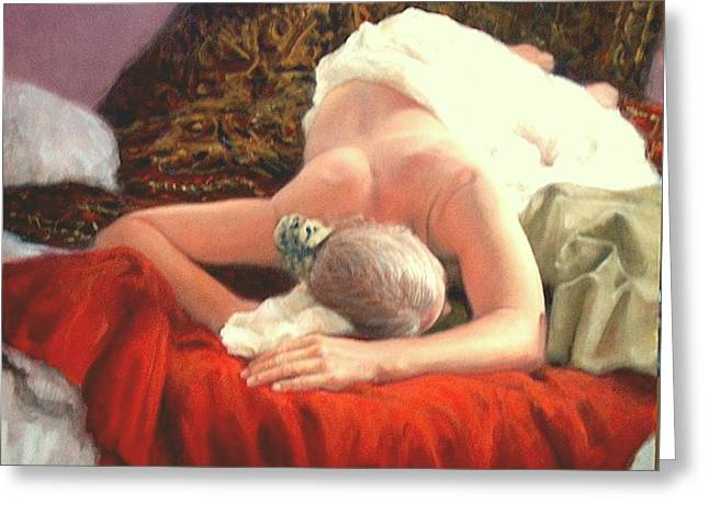 Greeting Card featuring the painting Nude At Rest 1 by Donelli  DiMaria