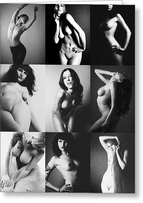 Nude Bw Collage  Greeting Card by Falko Follert
