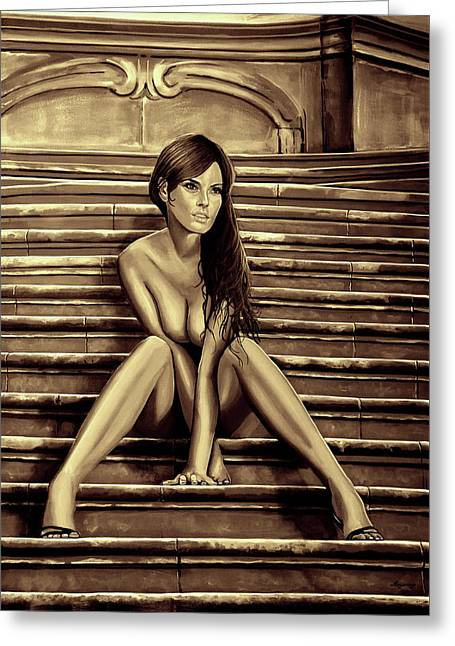 Nude City Beauty Sepia Greeting Card by Paul Meijering