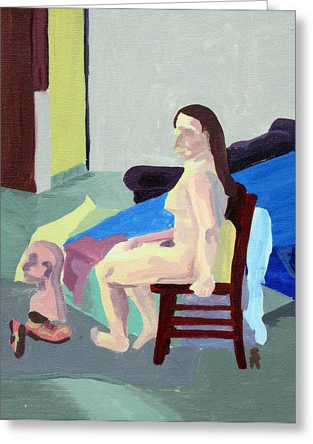 Nude Female In Red Chair Greeting Card by Sheri Buchheit