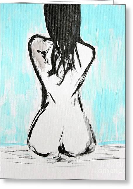 Nude Female Greeting Card by Julie Lueders