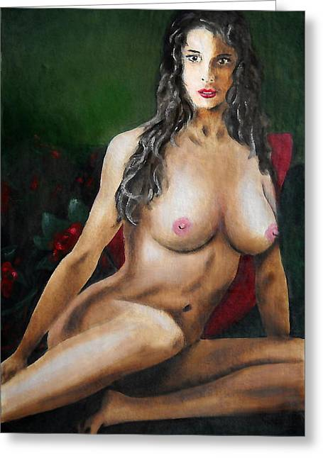 Nude Female Portrait Jean Seated Greeting Card
