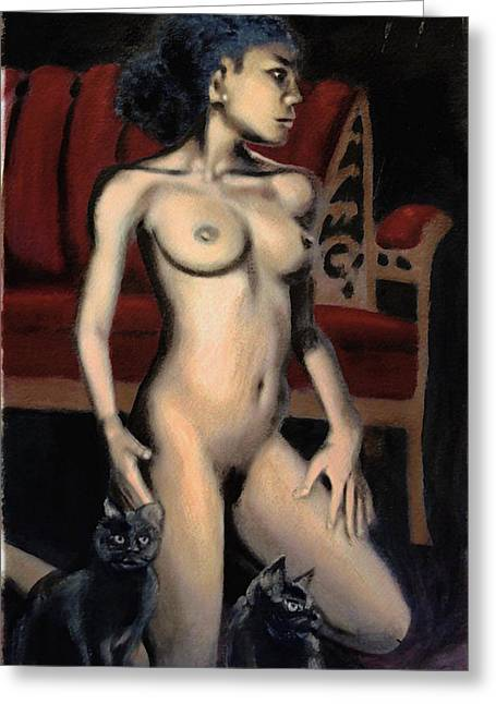 Nude Female Woman Kneeling With Cats Greeting Card