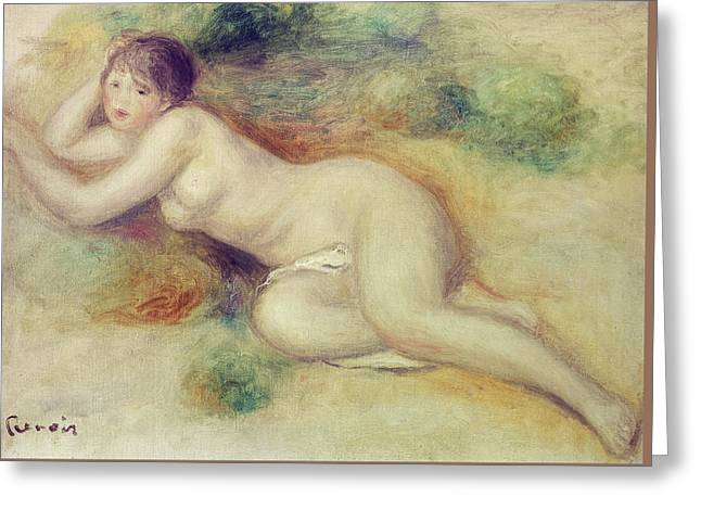 Nude Figure Of A Girl Greeting Card by Pierre Auguste Renoir
