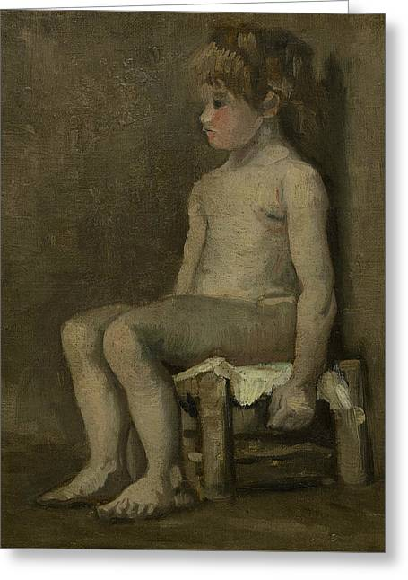 Nude Girl, Seated Greeting Card by Vincent van Gogh