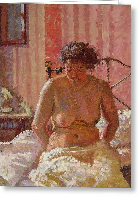 Nude In An Interior Greeting Card by Harold Gilman