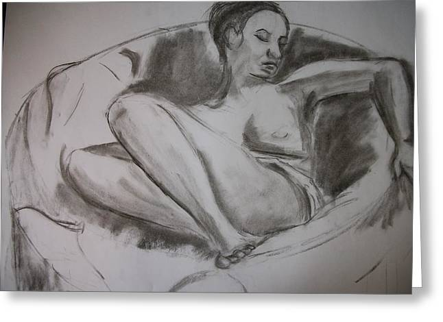 Nude In Chair Greeting Card by Adam Davis