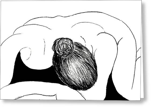 Nude In Supplication Greeting Card by VIVA Anderson