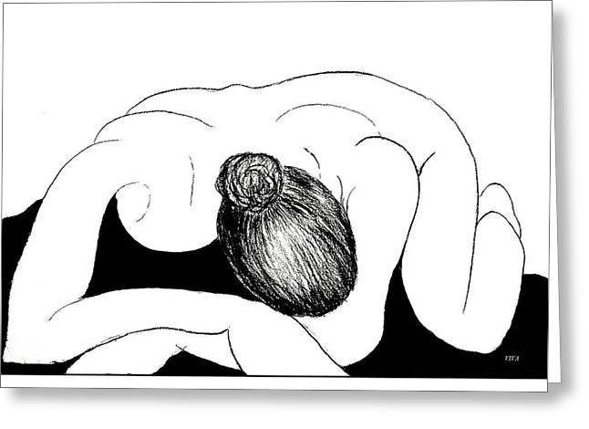 Nude In Supplication Greeting Card