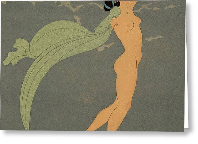 Nude   Le Silence De Mnasidika Greeting Card by Georges Barbier